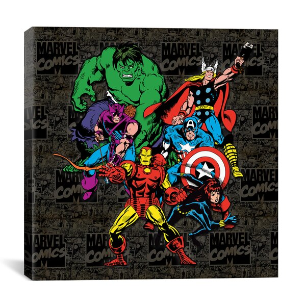 Marvel Comics Character Avengers Lineup Comic Logo Graphic Art on Wrapped Canvas by iCanvas