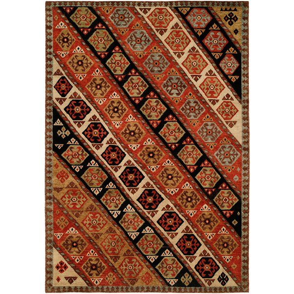 Hickenbottom Hand Knotted Wool Rust/Black Area Rug by Bloomsbury Market