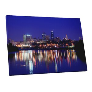 'City Skylines Kansas City at Night' Photographic Print on Wrapped Canvas by Pingo World