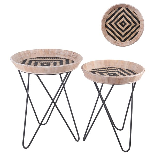 Haruki Tray Top Cross Legs Nesting Table Set By Bloomsbury Market