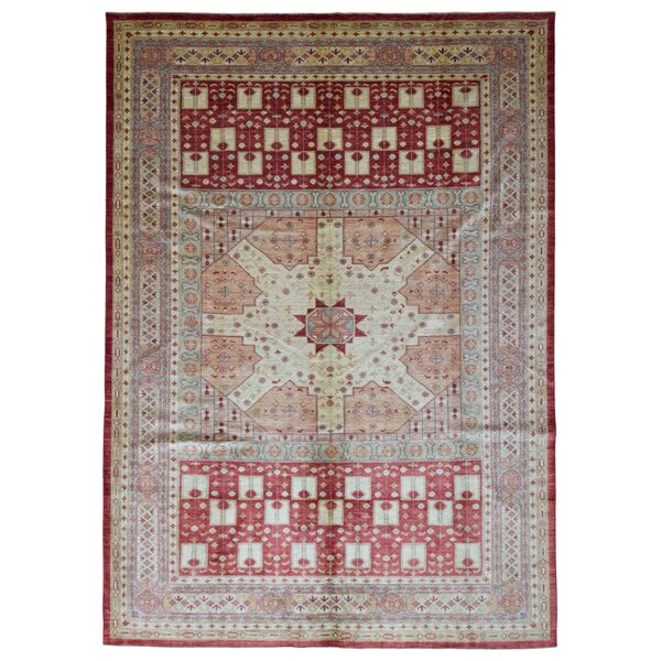 One-of-a-Kind Coster Hand-Woven Wool Beige/Red Area Rug by Isabelline