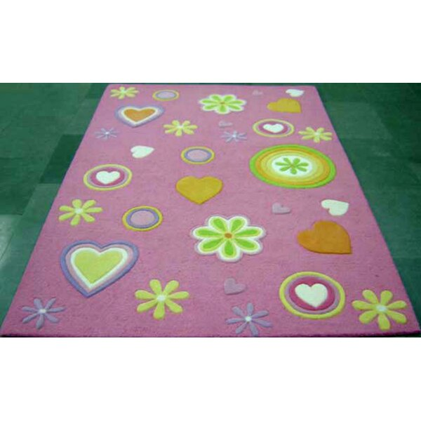 Dallin Hand-Tufted Wool Pink Girltime Area Rug by Harriet Bee
