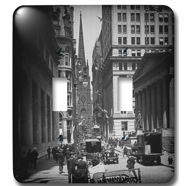 Sub Treasury Old Trinity Church Wall Street New York City Glass Slide 2-Gang Toggle Light Switch Wall Plate by 3dRose