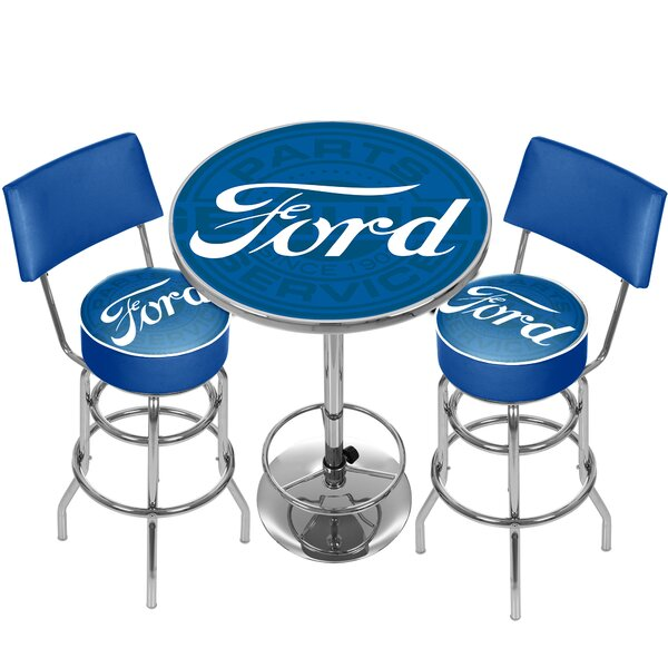 Ford Genuine Parts Game Room Combo 3 Piece Pub Table Set By Trademark Global Amazing