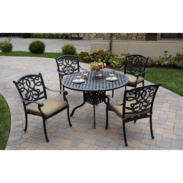 Calhoun Traditional 5 Piece Dining Set with Cushions by Fleur De Lis Living Fleur De Lis Living