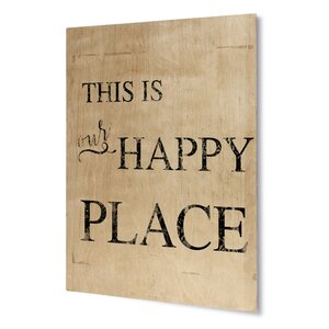 Happy Place Textual Art on Plaque by KAVKA DESIGNS