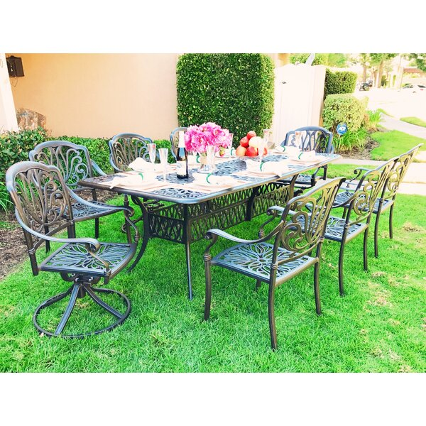 Nina Rectangular 9 Piece Metal Dining Set with Cushions by Fleur De Lis Living