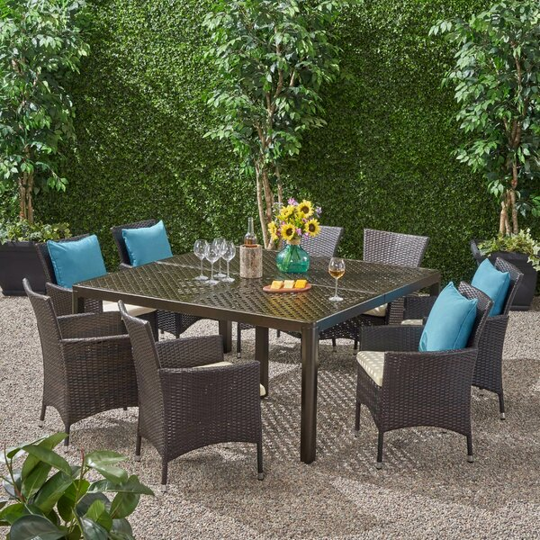 Elledge Outdoor 9 Piece Dining Set with Cushions by Brayden Studio