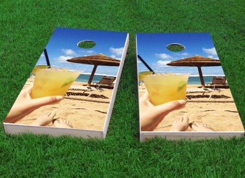 Margaritas on the Beach Cornhole Game (Set of 2) by Custom Cornhole Boards
