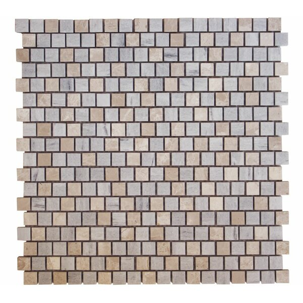 Offset 0.63 x 0.63 Marble Mosaic Tile in Bluette by Ephesus Stones