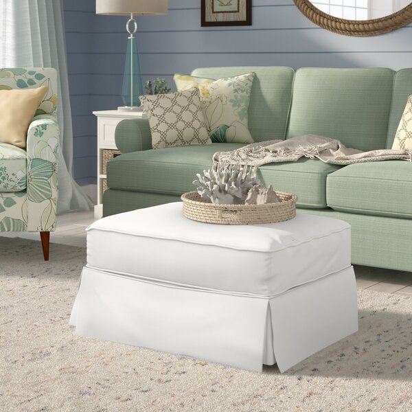 Coral Gables Slipcovered Ottoman by Beachcrest Home