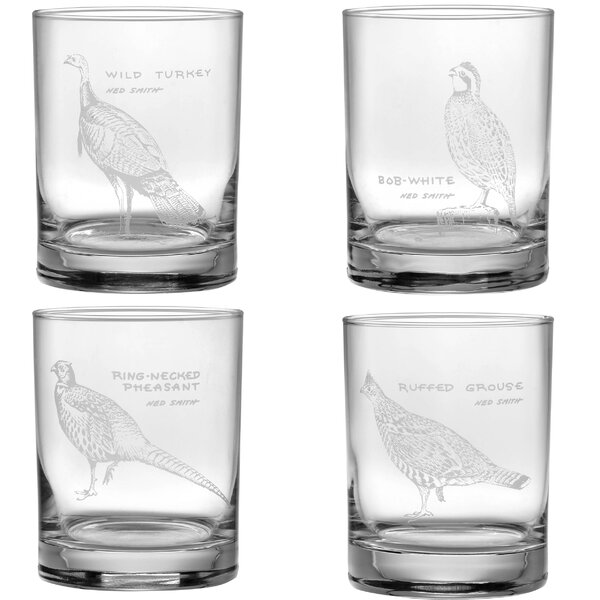 Upland Gamebird Double Old Fashioned 4 Piece 14 oz. Glass Cocktail Set by Ned Smith