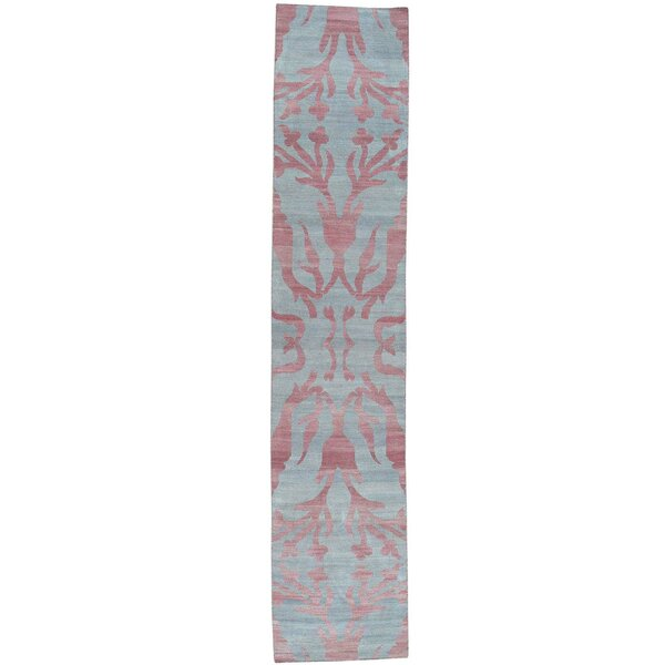 One-of-a-Kind Flat Weave Reversible Durie Kilim Hand-Knotted Pink/Blue Area Rug by Bungalow Rose