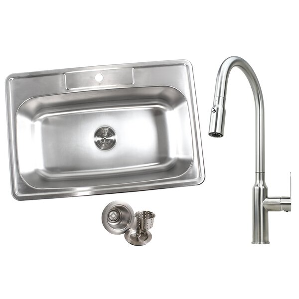 33 x 22 Drop-In Kitchen Sink with Faucet by eModern Decor
