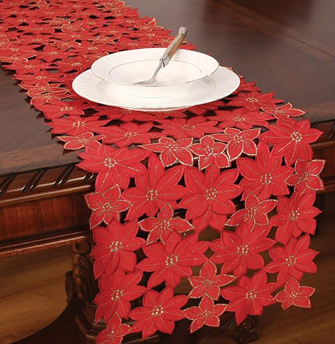Festive Poinsettia Embroidered Cutwork Holiday Table Runner by The Holiday Aisle