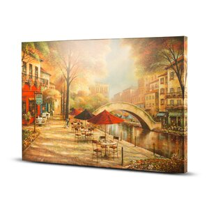 'Riverwalk Charm' Painting Print on Wrapped Canvas by Crystal Art Gallery