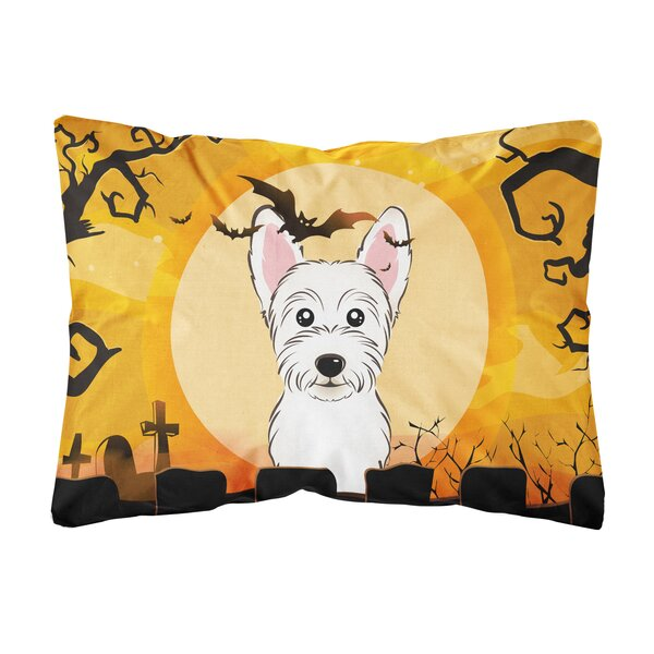 Ozbourn Halloween Westie Fabric Indoor/Outdoor Throw Pillow by The Holiday Aisle