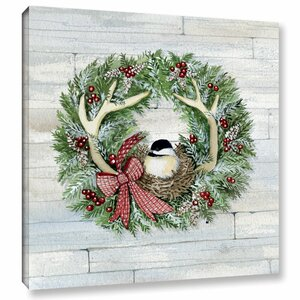 'Holiday Wreath on Wood' Graphic Art on Wrapped Canvas by Gracie Oaks