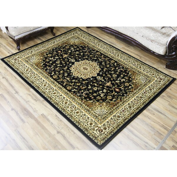 Super Belkis Black/Ivory Area Rug by Beyan Signature