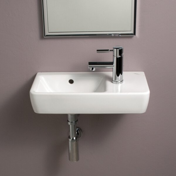Comprimo Ceramic 20 Wall Mount Bathroom Sink with Overflow by Bissonnet
