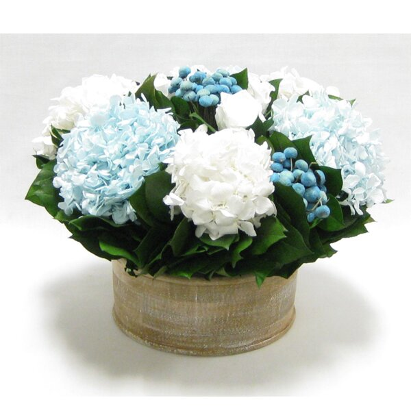 Mixed Floral Centerpiece in Wooden Short Round Container by Rosecliff Heights