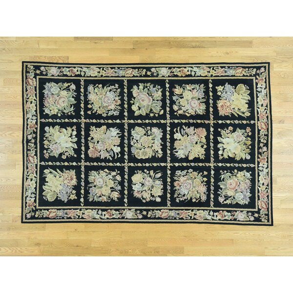 One-of-a-Kind Bessette Needlepoint H-Stitched Handwoven Black Wool Area Rug by Isabelline