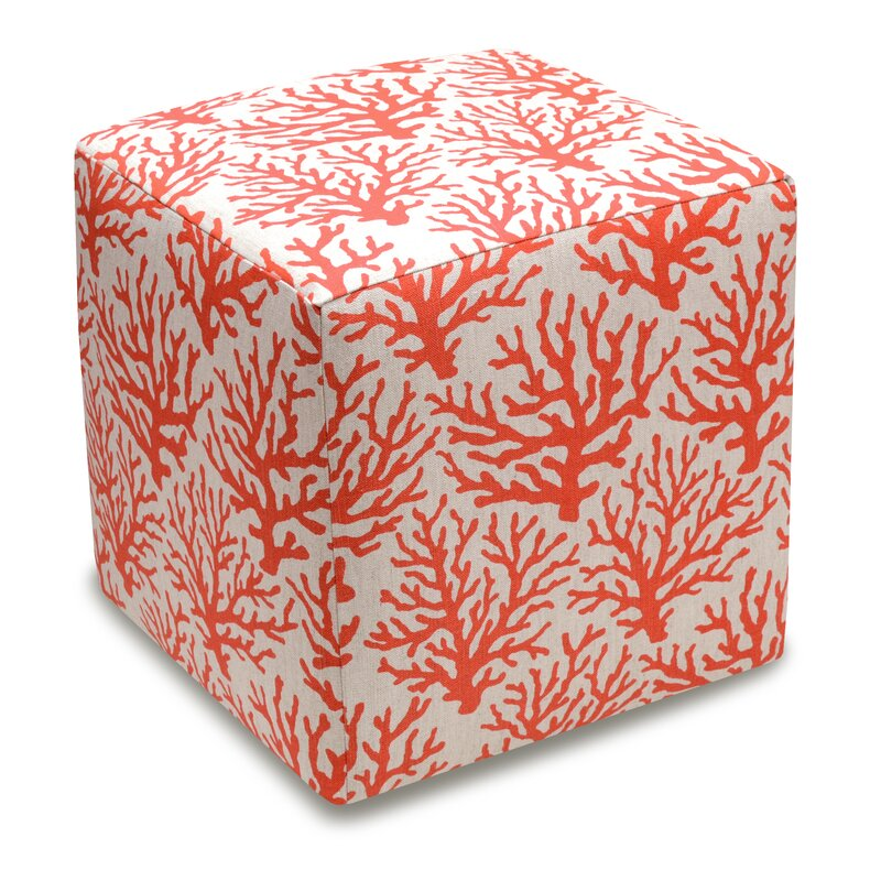 123 Creations Cube Ottoman Color: Coral Red