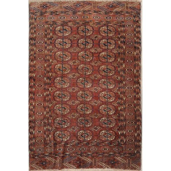 Jamal Kazak Oriental Hand-Knotted Wool Red/Burgundy Area Rug by Bloomsbury Market