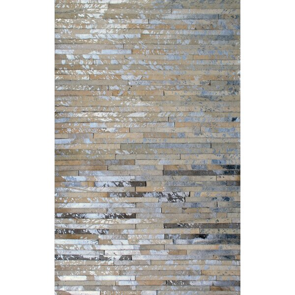 Patchwork Stripe Faded Brown Area Rug by Modern Rugs