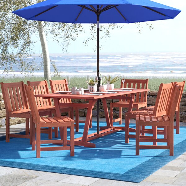 Amabel 9 Piece Wood Dining Set by Beachcrest Home