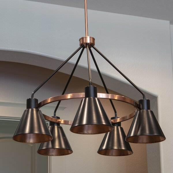 Wilmslow 5-Light Shaded Wagon Wheel Chandelier by Williston Forge Williston Forge