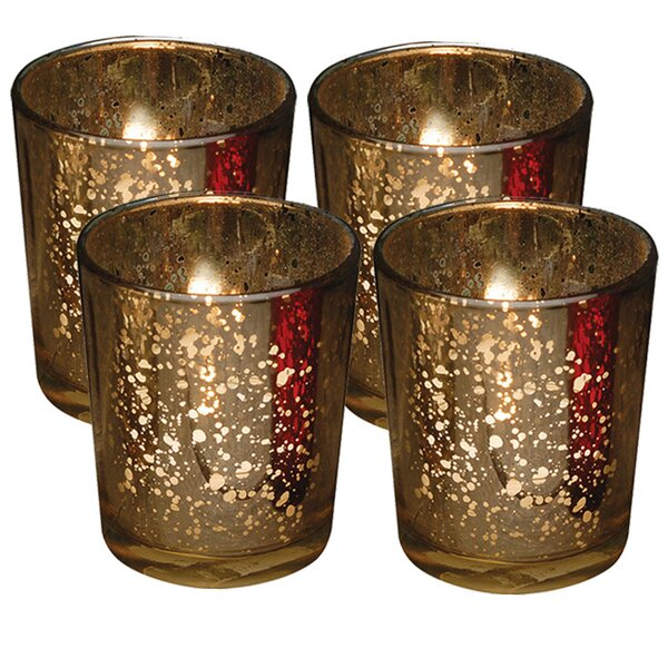 Rustic Glass Votive Candle Holder (Set of 4) by Loon Peak