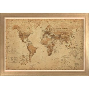 Framed world map wayfair world map antique framed graphic art gumiabroncs Choice Image