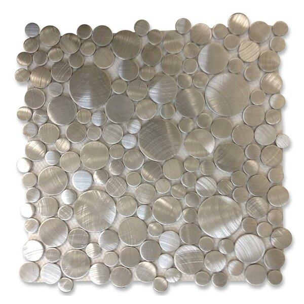 Urban Random Sized Metal Mosaic Tile in Brushed Silver by Splashback Tile