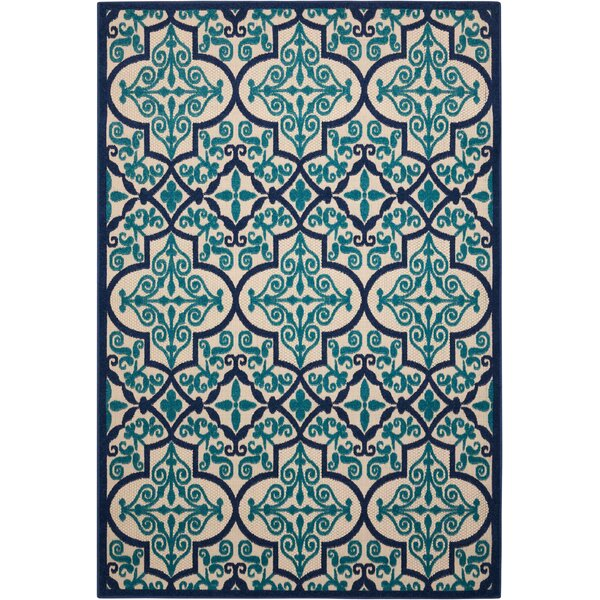 Seaside Navy/Teal Indoor/Outdoor Area Rug by Bay Isle Home