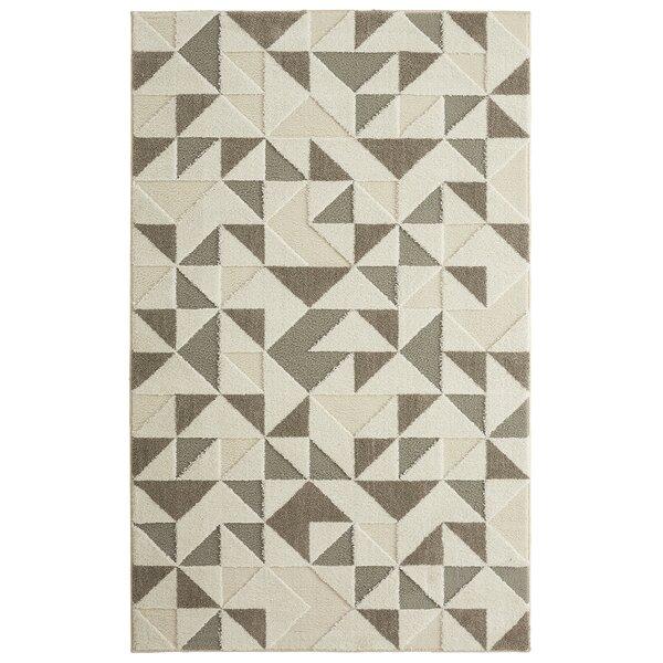 Nickson Modern Triangles Gray/Cream Area Rug by Brayden Studio
