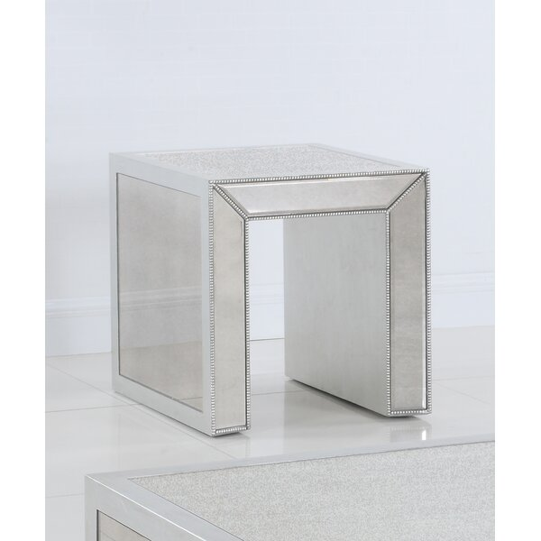 Eder Mirrored End Table by Everly Quinn