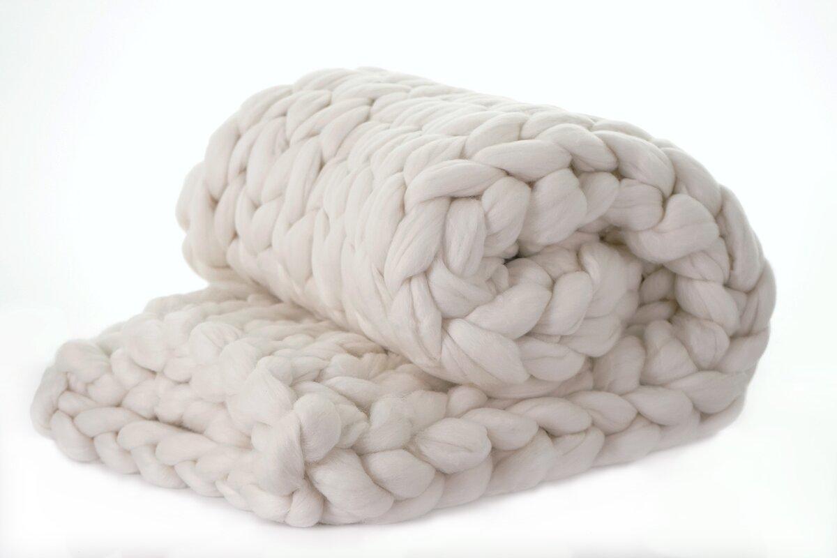 CHUNKY KNIT THROW BLANKET Alert! Madeira Chunky Knit Merino Wool Throw