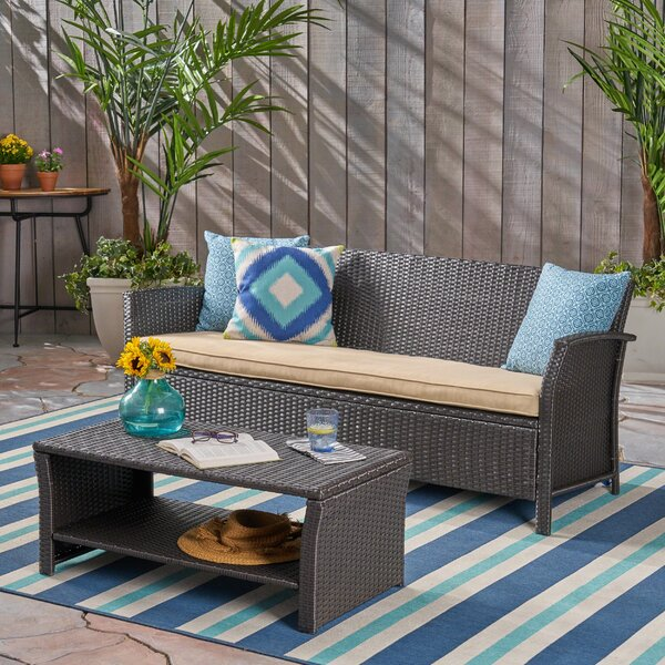 Kimberlee 2 Piece Rattan Sofa Seating Group with Cushions by Bungalow Rose