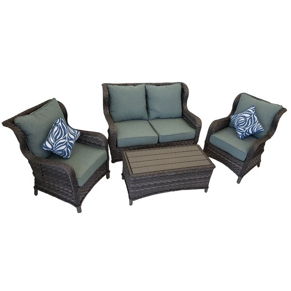 Lavern 4 Piece Sofa Seating Group with Cushions by Breakwater Bay