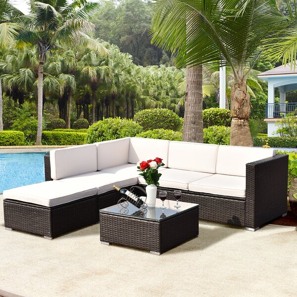 Genera Patio 4 Piece Rattan Sectional Seating Group with Cushions by Latitude Run