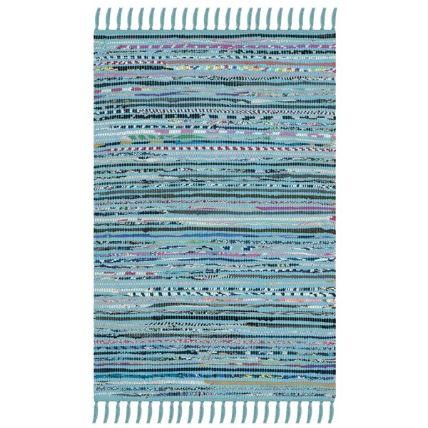Nerys Hand-Woven Cotton Turquoise Area Rug by Highland Dunes