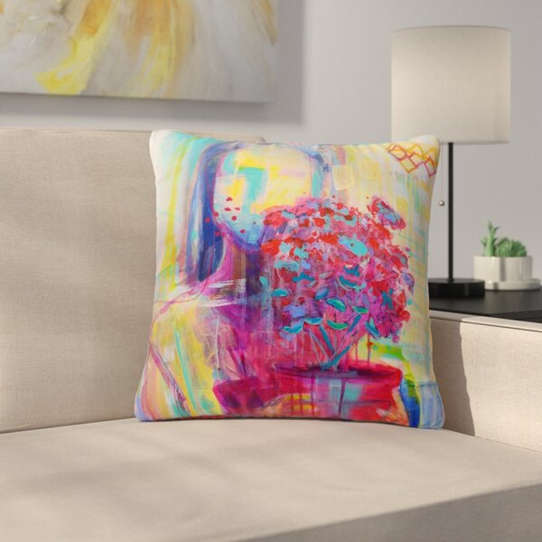 Cecibd Girl with Plants III Abstract Painting Outdoor Throw Pillow by East Urban Home