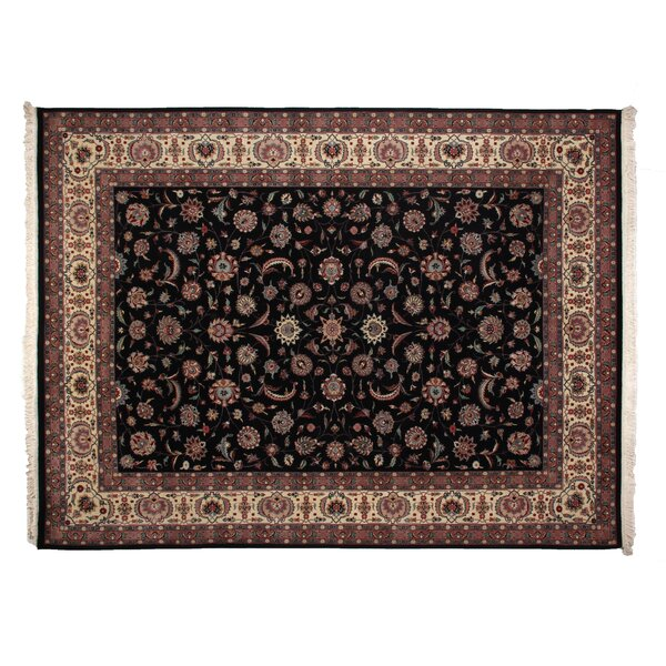 One-of-a-Kind Fine Kashan Hand-Woven Wool Black/Ivory Area Rug by Exquisite Rugs