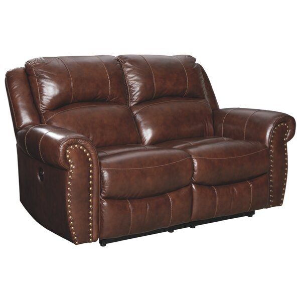 Get Name Brand Dunning Leather Reclining Loveseat by Millwood Pines by Millwood Pines
