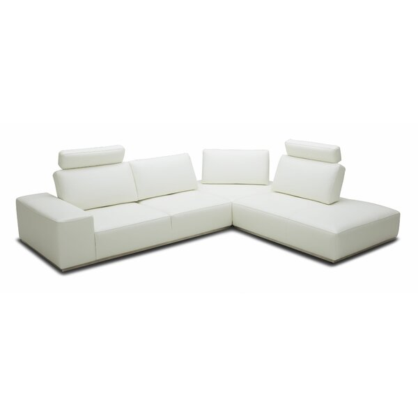 Brionna Leather Right Hand Facing Sectional By Orren Ellis