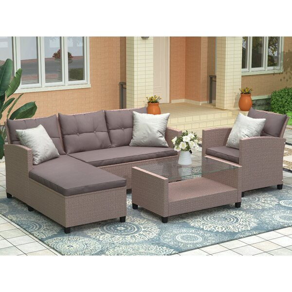 Bellamo Patio 4 Piece Rattan Sectional Seating Group with Cushions by Red Barrel Studio