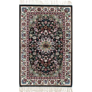 Reviews One-of-a-Kind Hanceville Hand-Knotted Silk Black Area Rug By Isabelline