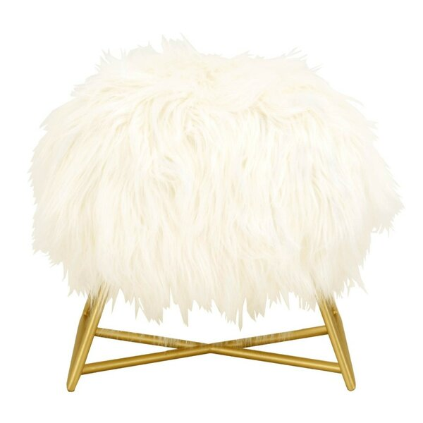 Rose Fur Seat Ottoman by Everly Quinn