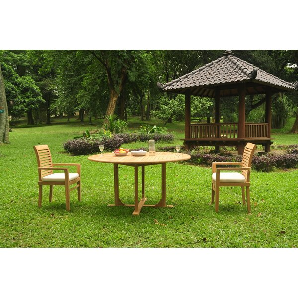 Fredson 3 Piece Teak Bistro Set by Rosecliff Heights
